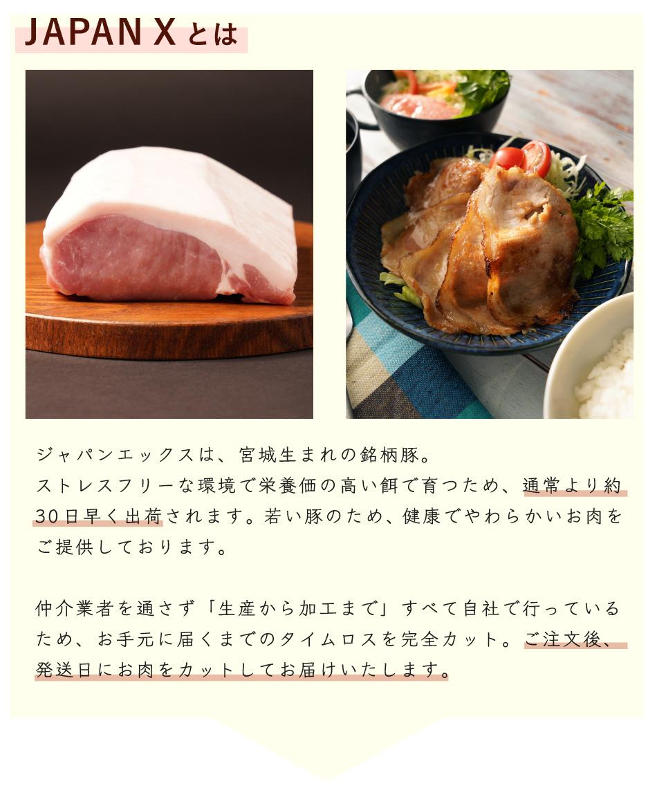 JAPAN X,ジャパンエックス,JAPAN Xとは,宮城産まれ,栄養価の高い餌,若い豚,やわらかい,タイムロスカット,発送日にお肉をカットしてお届けします,